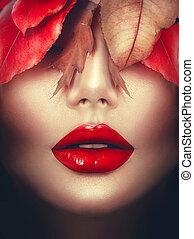automne, femme, mode, portrait., fall., mode, art, maquillage