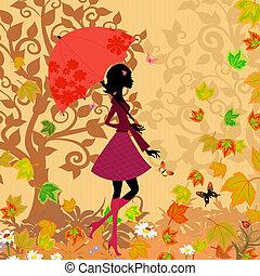 automne, femme, parapluie, sous