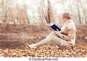 automne, femme, parc, blonds, heureux