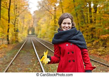 automne, femme, parc, heureux