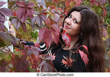 automne, femme, parc