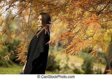 automne, femme, parc, jeune, joli