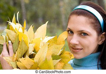 automne, femme, parc, jeune