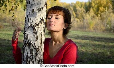 automne, femme, parc, jeune, triste