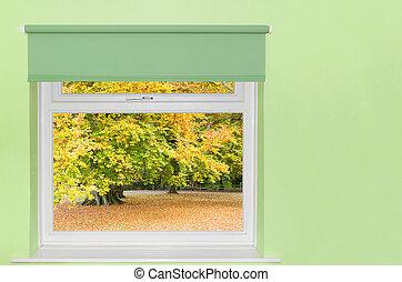 automne, fenêtre, arbres, vue
