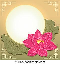 automne, festival, fleur, mi, lotus