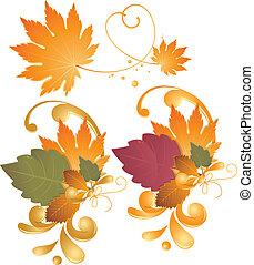 automne, -, feuilles, éléments, conception