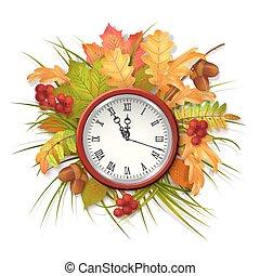 automne, feuilles autome, vecteur, horloge