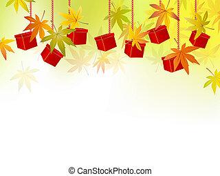 automne, feuilles automne, vente, saison