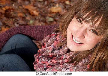 automne, fille souriante, terrestre