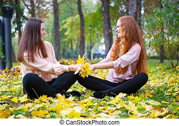 automne, filles, parc, deux