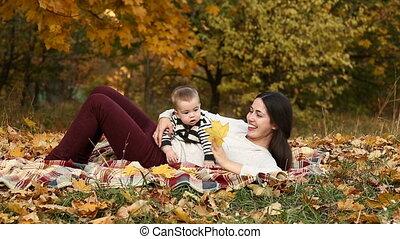 automne, fils, parc, mère