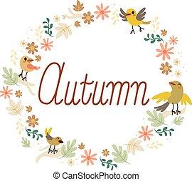 automne, fleurs, conception, oiseaux