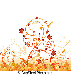 automne, floral, ornement