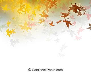 automne, fond, -, feuilles automne