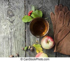 automne, fond, tasse, bois, repos, promenade, lecture, parc, gants, pommes, thé