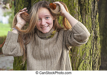 automne, forest., girl, jeune