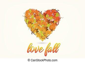 automne, forme coeur, amour, logo