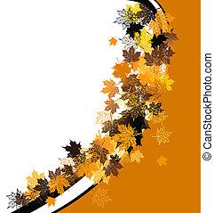 automne, frame:, érable, leaf., endroit, pour, ton, texte, here.