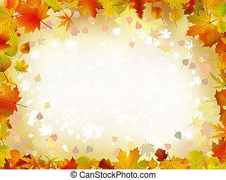 automne, frontière, feuilles, text., ton