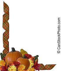 automne, frontière, rubans, thanksgiving, automne