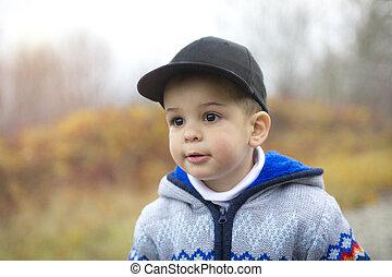 automne, garçon, adorable, parc
