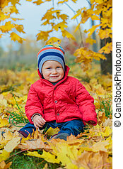 automne, garçon, parc, bébé