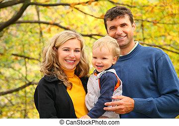 automne, garçon, parc, famille