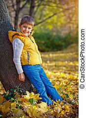 automne, garçon, parc, heureux