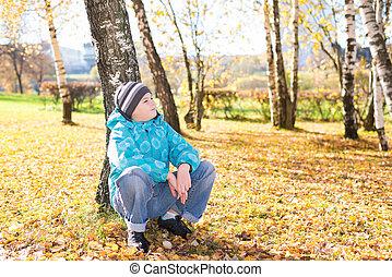 automne, garçon, parc