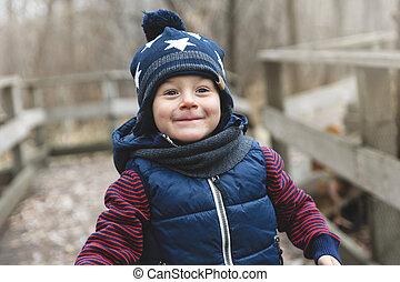 automne, garçon, parc, portrait