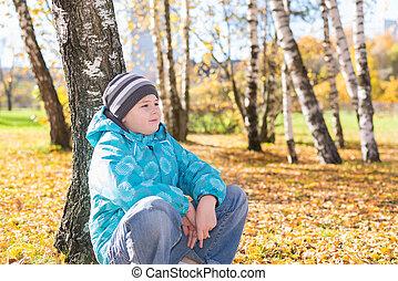 automne, garçon, parc, triste