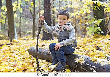 automne, garçon, peu, octobre, saison