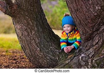automne, garçon, peu, parc, jouer