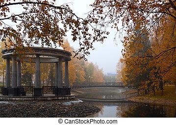 automne, gazebo, parc