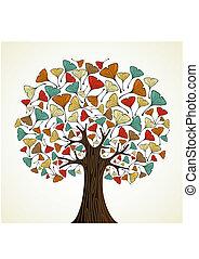 automne, ginkgo, résumé, arbre