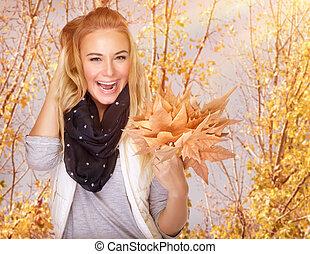 automne, girl, apprécier