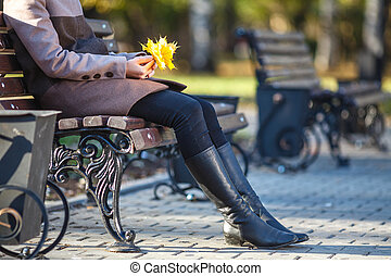 automne, girl, banc, parc, séance