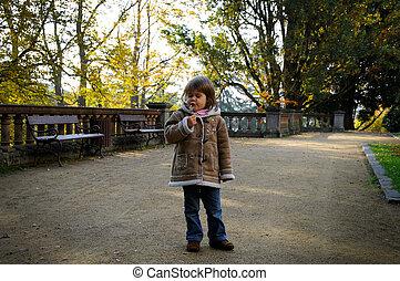 automne, girl, bancs parc
