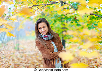 automne, girl, beauté