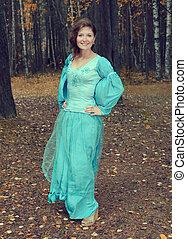automne, girl, bois, robe, moyen-âge