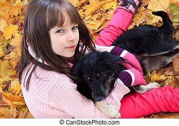 automne, girl, chien