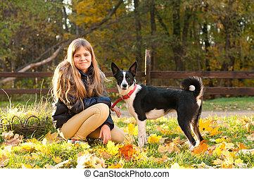 automne, girl, extérieur, chien
