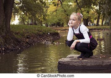 automne, girl, extérieur, gentil