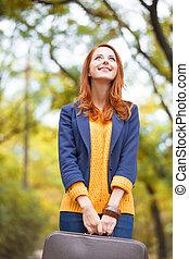 automne, girl, extérieur, valise