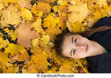 automne, girl, feuille, jeune, joli