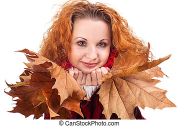 automne, girl, feuilles, jaune