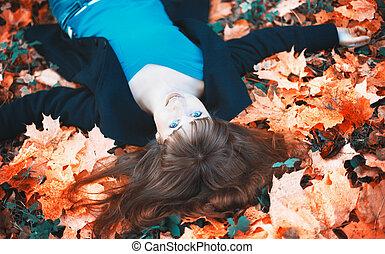 automne, girl, feuilles, mensonge