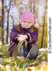 automne, girl, feuilles, séance