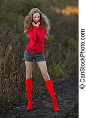 automne, girl, fond, bottes, rouges